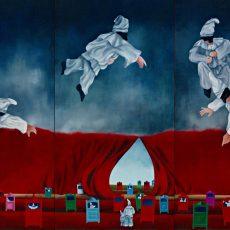"""L'Arrivo di Pulcinella  *Triptic  48x72"""" Acrylic on canvas, 2001   SOLD"""