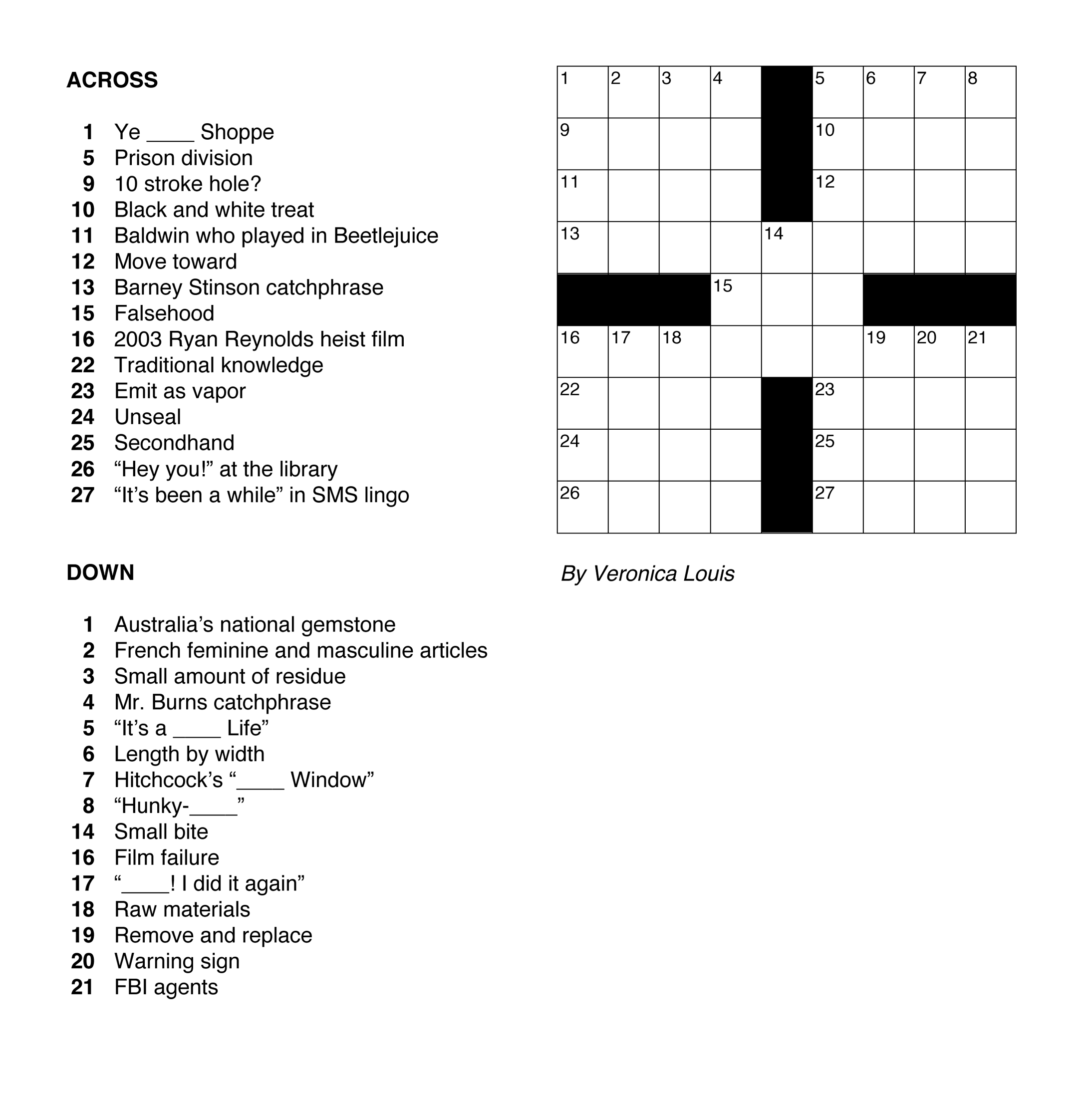 The Cruciverbalist S First Constructed Crossword Puzzle