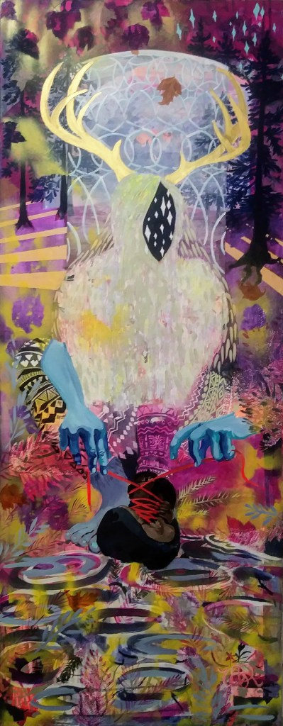 """Veronica Reeves, Finding the Thread, 2018, acrylic, Flasche, and spray paint on canvas, 24"""" x 60"""""""