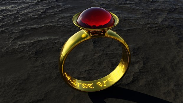 Red stone gold ring