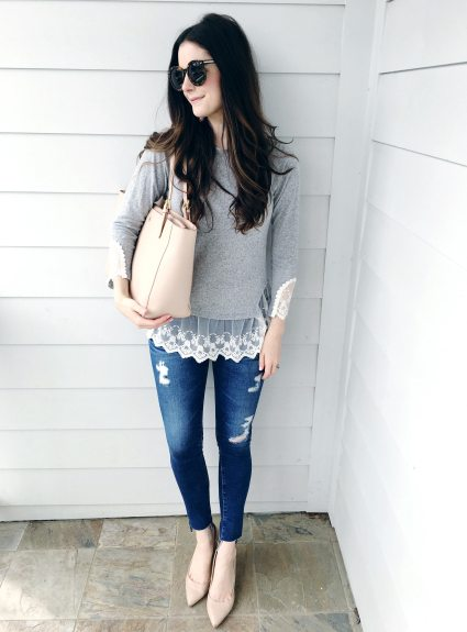 Lace-Trimmed Knit Top & New Raw Hem Jeans
