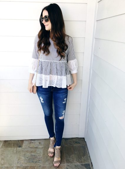 Striped Eyelet Top