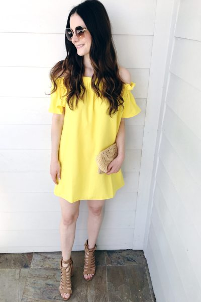 Yellow Off the Shoulder Dress + 34