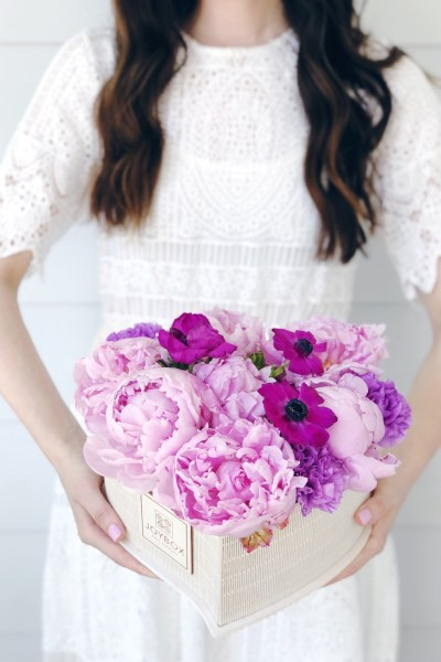 A White Lace Dress + Joy Box Flowers for Mother's Day