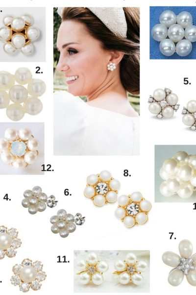 Duchess of Cambridge Kate Middleton Inspired Floral Pearl Earring