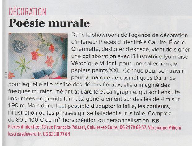 Véronique Milioni, Revue de presse, Article dans La Tribune Avril 2018, Poésie Murale