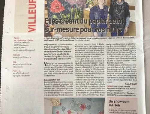 Véronique Milioni, Revue de presse, Article dans Le Progès Villeurbanne, Elles créent du papier peint sur-mesure pour vos murs