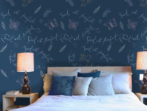 ©Véronique Milioni, Motif Tout est parfait, La Marque, créatrice de papiers peints pour les besoins des architectes et décorateurs d'intérieurs, hôtels et restaurants haut de gamme, boutique de luxe, univers du zen et du développement personnel