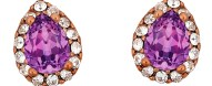 Ασημένια σκουλαρίκια ροζέτες δάκρυ 925 με μώβ πέτρα SWAROVSKI SK-E3213WMOVR1