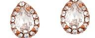 Ασημένια σκουλαρίκια ροζέτες δάκρυ 925 με λευκή πέτρα SWAROVSKI SK-E3213WWR1