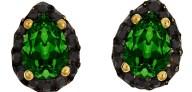 Ασημένια σκουλαρίκια ροζέτες δάκρυ 925 με πράσινη σκούρη πέτρα SWAROVSKI SK-E3213BGSG1