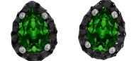 Ασημένια σκουλαρίκια ροζέτες δάκρυ 925 με πράσινη σκούρη πέτρα SWAROVSKI SK-E3213BGSL1
