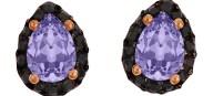 Ασημένια σκουλαρίκια ροζέτες δάκρυ 925 με λιλά πέτρα SWAROVSKI SK-E3213BLILAR1