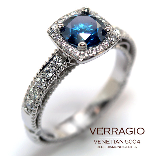 Venetian 5004 Engagement Ring With A Blue Diamond