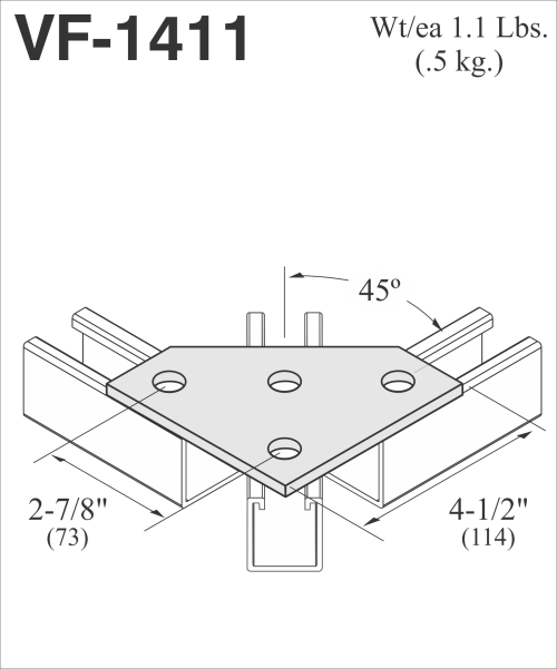small resolution of vf 1411 4 hole double brace connector