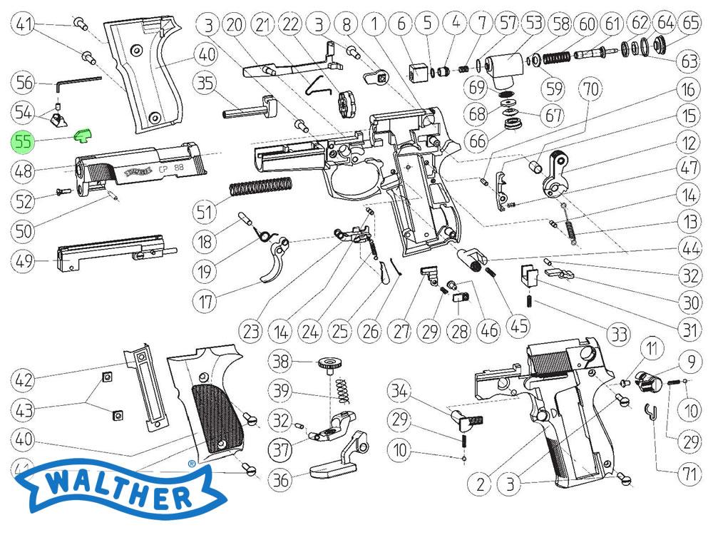 Korn für CO2 Pistole Walther CP 88, Ersatzteil
