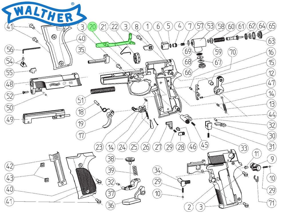 Zugstange für Walther CP88 CO2 Pistole