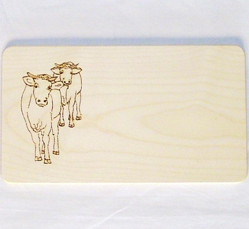 Frhstcksbrettchen kleines Schneidebrett 13x23cm Motiv Khe  Brotzeitbretter