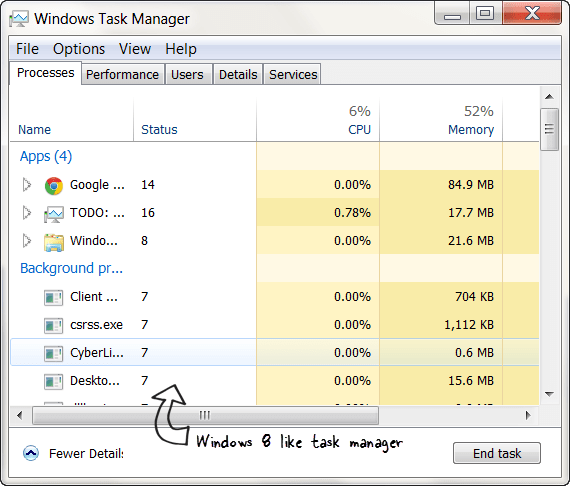 Windows 8 Style Task Manager for Windows 7