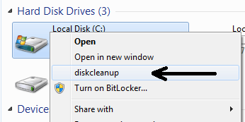 add disk cleanup at right click