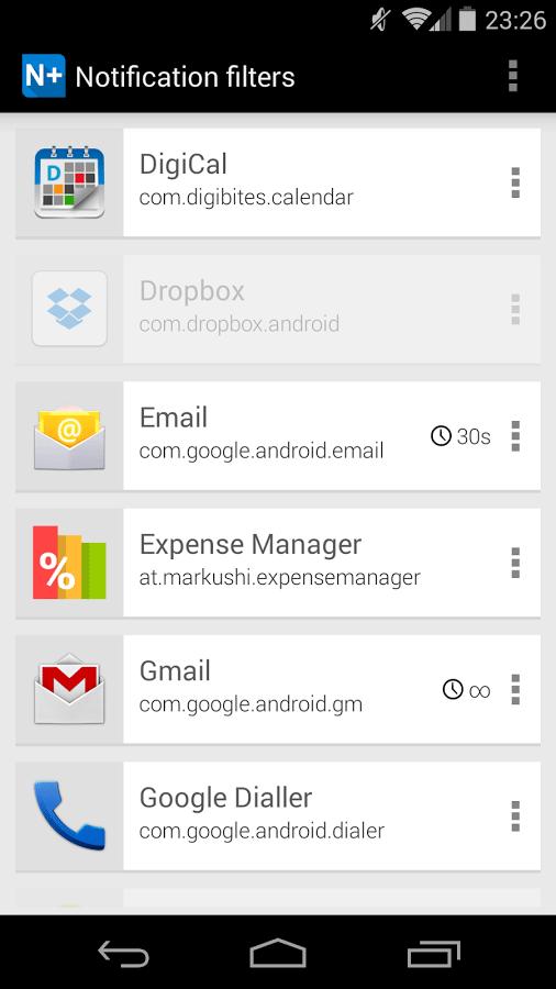 notification filter notification+