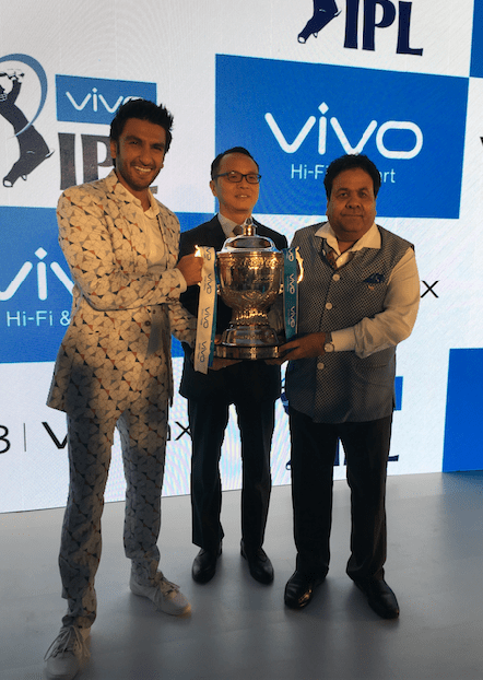 Ranveer Singh with Alex Feng and IPL Chairman Rajiv SHukla