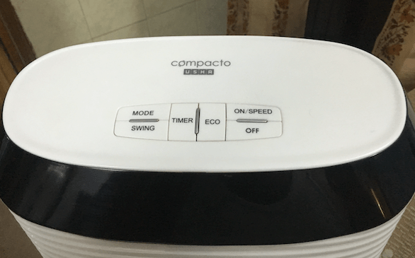 USHA Cerebro Compacto Tower Fan Buttons