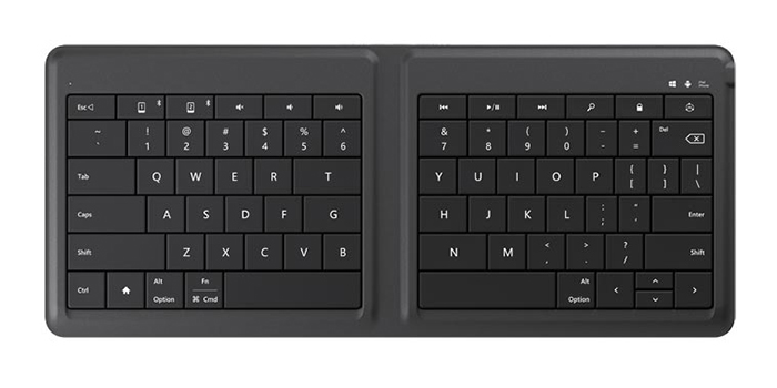 Microsoft unveils a portable, foldable universal keyboard for smartphones and tablets