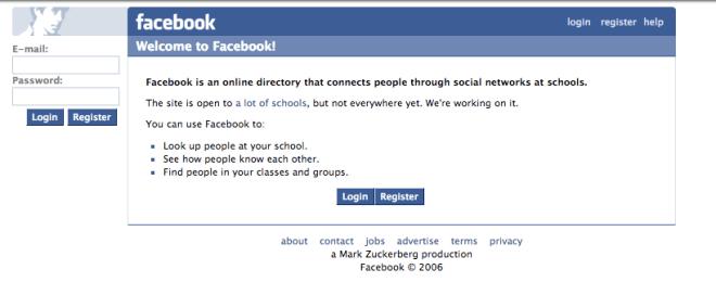 facebook.com nel 2005
