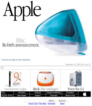 Apple homepage with the iMac (1998)