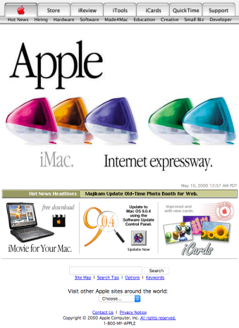 Apple homepage with various iMac colors (2000)