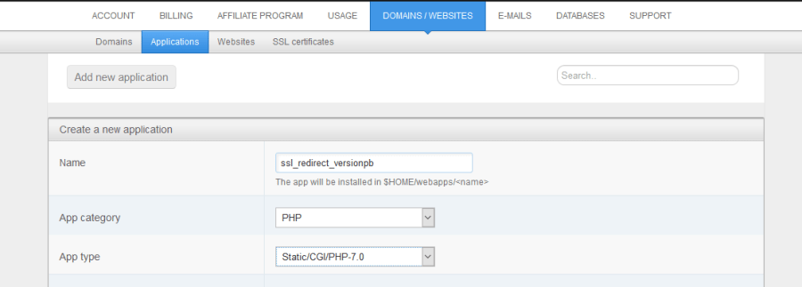 Create New Application in Webfaction