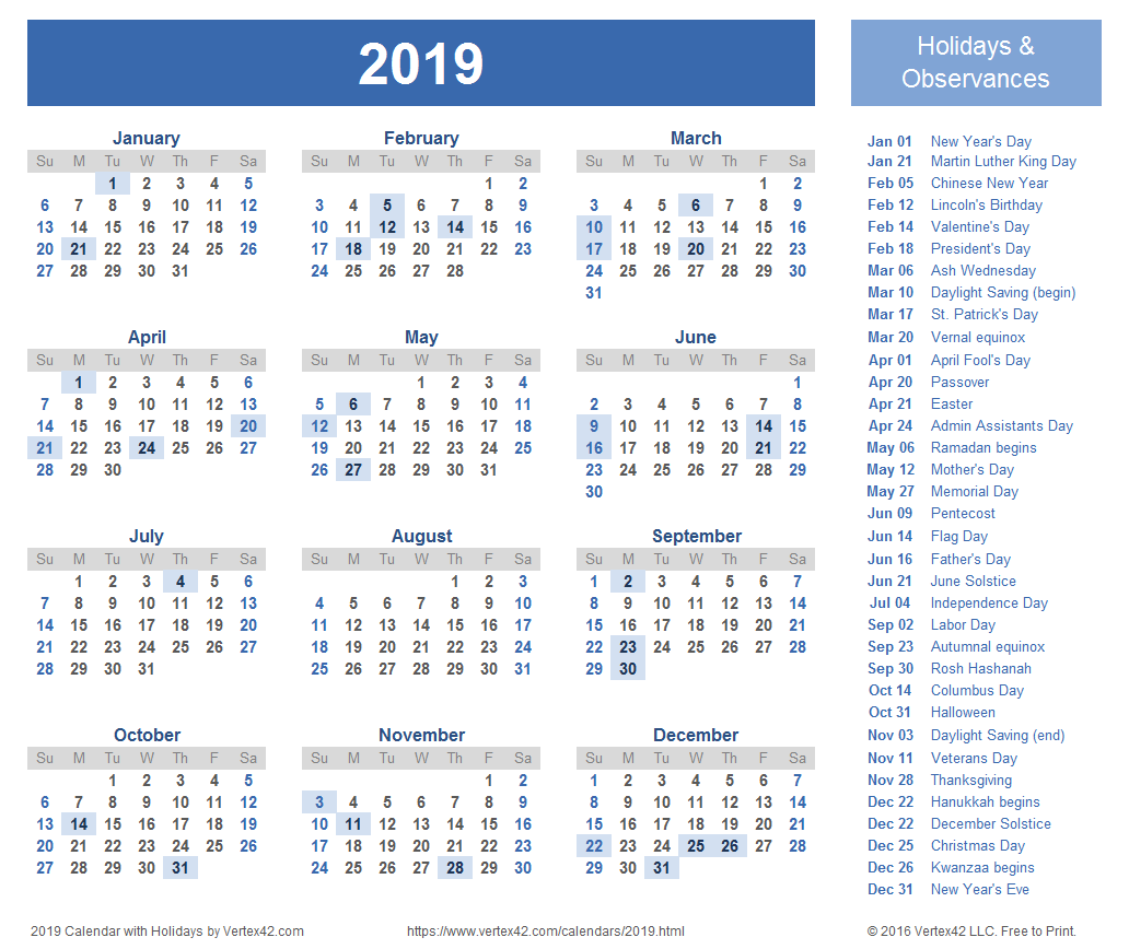 2019 free calendar with holidays