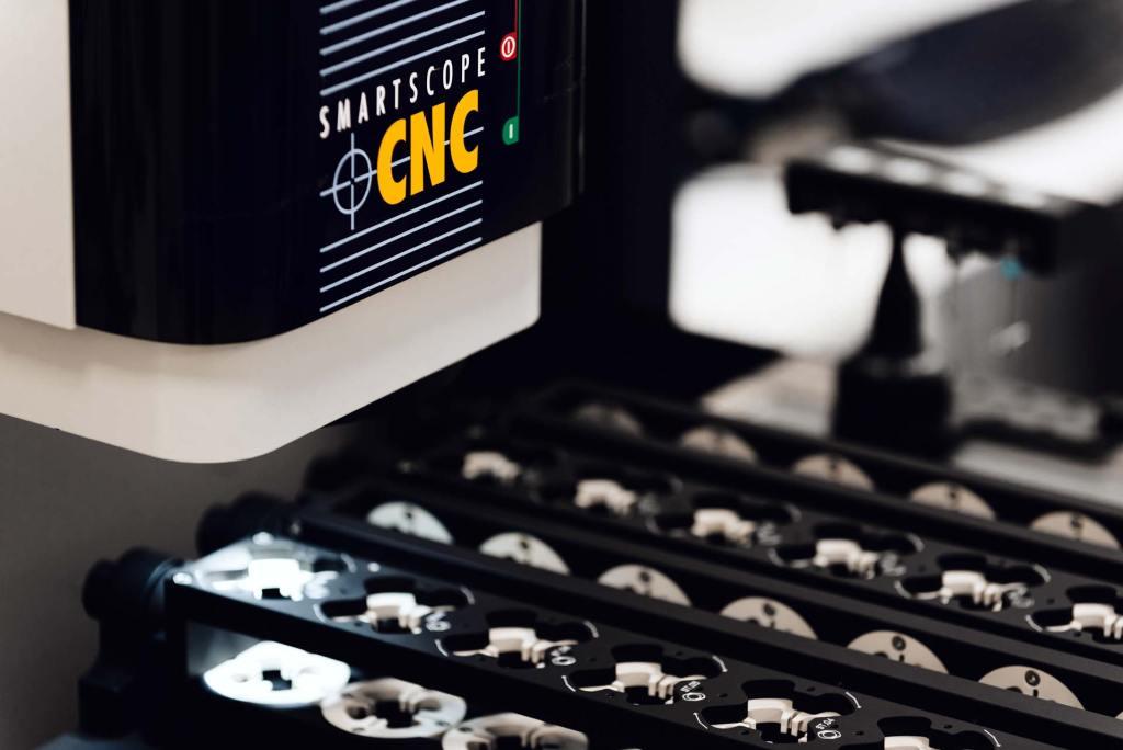 OGP CNC 500 visually inspecting a Verus Metrology Partners bespoke rotational fixture