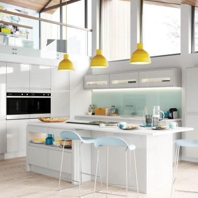 Modern Contemporary Strada Gloss Light Grey Kitchen Hero