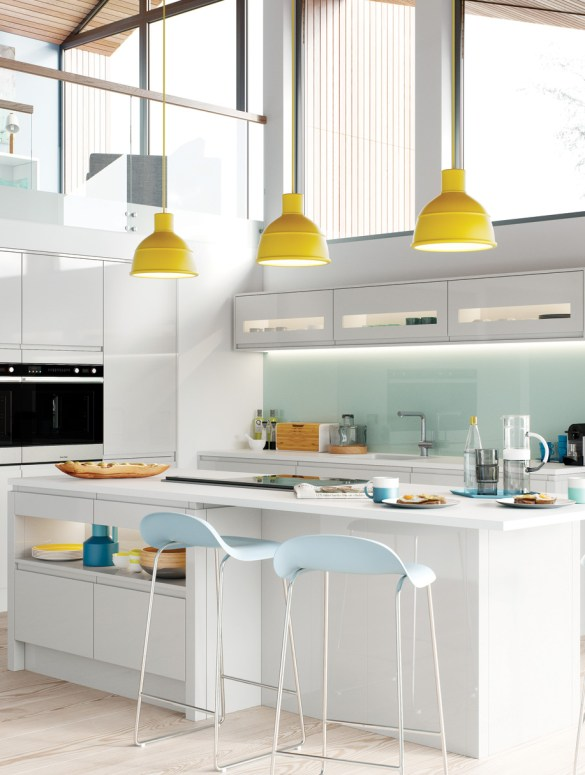 Modern Contemporary Strada Gloss Light Grey Kitchen Hero