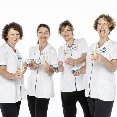 Beverley Danyali, Oonagh Wolfkamp, Hannah Brockbank and Louise Gray of Louise Gray Skin Care.