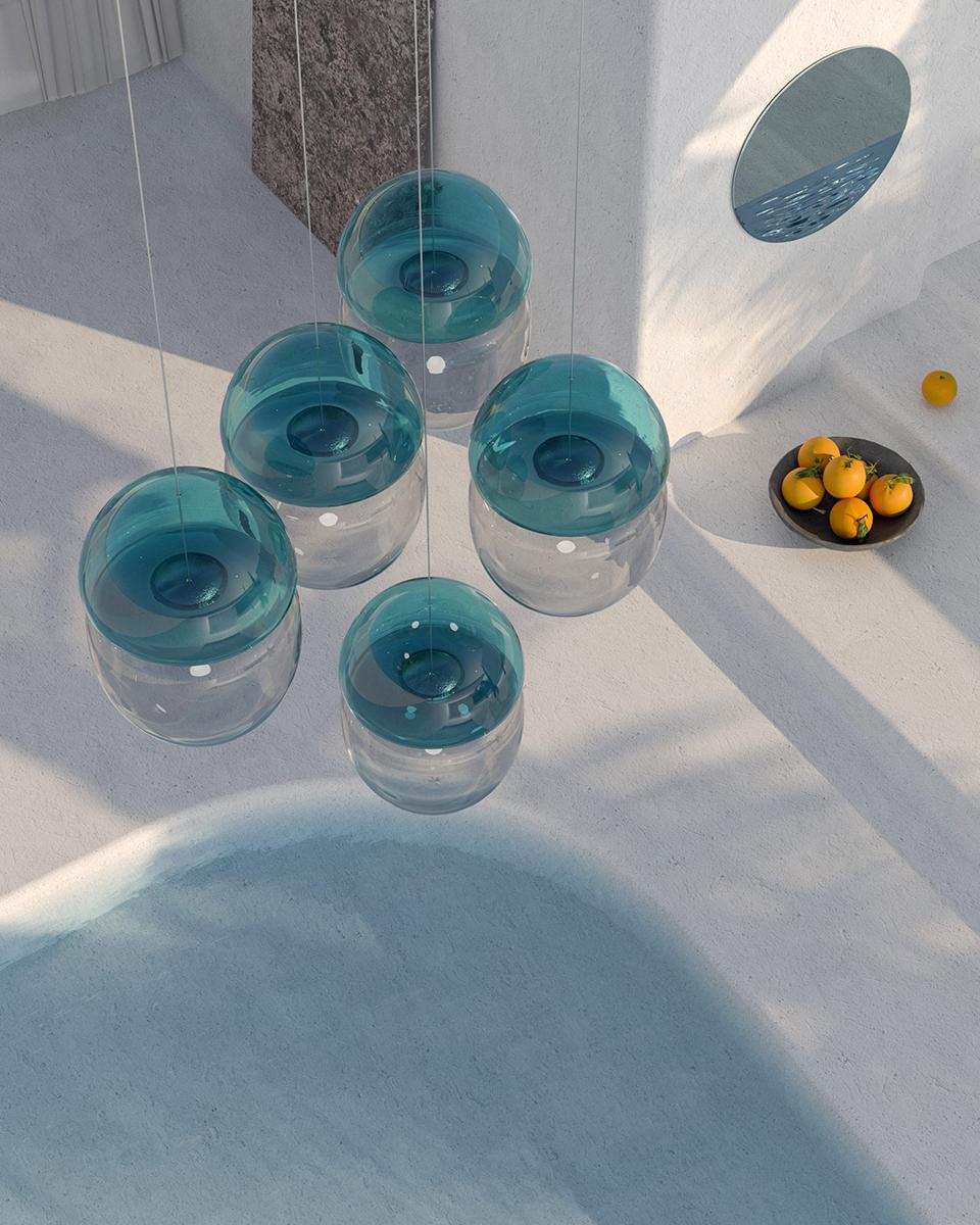 Dew & Drop Hand Blown Pendant Light, Occrum Studios
