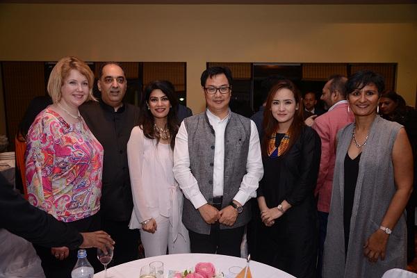 Amanda Day, Ajay Mehra, Sangita Mehra, Kiren  and Rina Rijiju, Harinder Sidhu