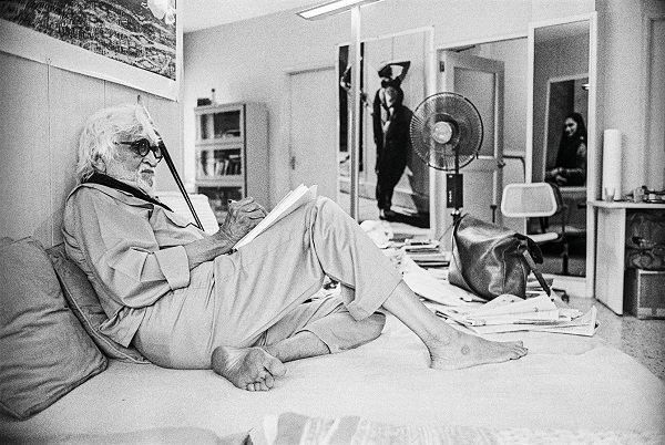 M.F. Husain at home, 2005