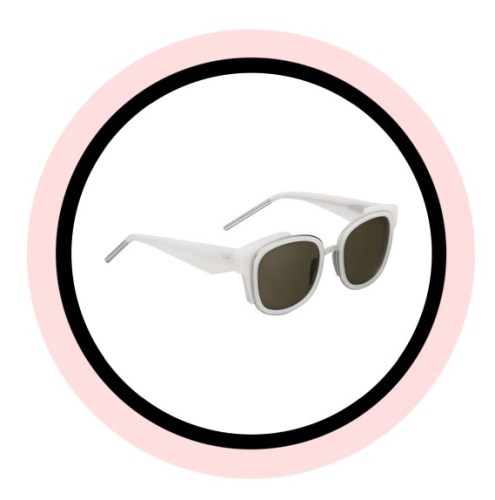 VeryDior2N sunglasses from the Cruise 2016 fashion show. It is square shaped in opaline ivory acetate and silver metal, with graphic temples and khaki lenses.