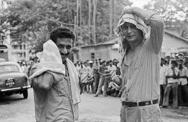 Naseeruddin Shah and Stellan Skarsgard on the sets of The Perfect Murder, 1987