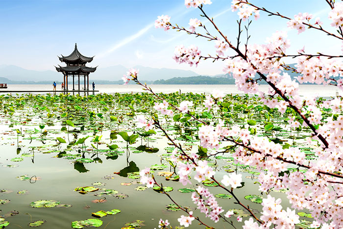 An ancient Chinese pavilion on the west lake in Hangzhou