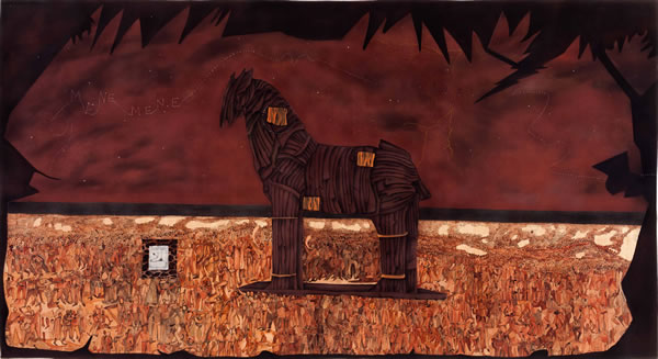 Abul Hisham, Trojan horse and one lakh ten thousand conversations, 2014, Pastel, fabric, watercolor and marker on paper, 122.4 x 213 cm - 48 x 84 in