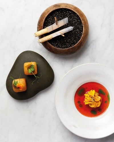 Clockwise from top: Eggplant and Kashmiri Chilli; Tomato and Marigold; Kohlrabi Pao