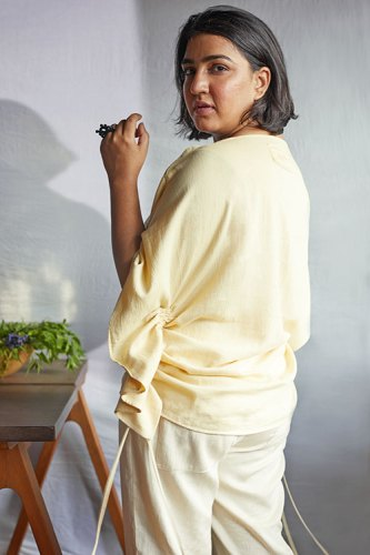 Organic cotton top, trousers, both infused with special oils, from Ayurganic by Lecoanet Hemant; Biodegradable Flower Crown Ring, by Riddhika Jesrani. Sunda Salad Bowl, from Nicobar.
