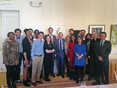 Ashoka founder Bill Drayton with the 2014 Yale World Fellows