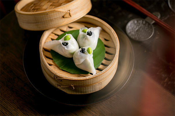 Asparagus and edamame dumplings