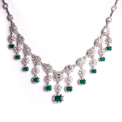 Aurelle by Leshna Shah necklace with emeralds and diamonds in 18-carat white gold