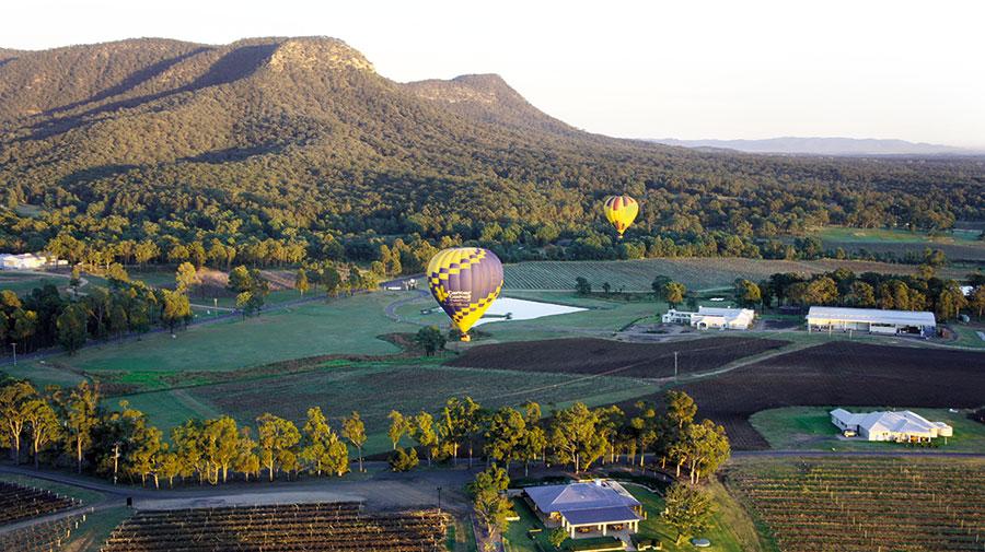 Ballooning over the hunter valley landscape, Hunter Valley, Australia